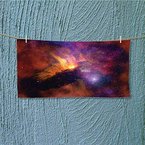 Shower Towel Stars and Nebula Gas and Dust Cloud Celestial Solar Galacy System Print Red Orange Easy Care Machine wash L27.5 x W11.8 inch by alsoeasy