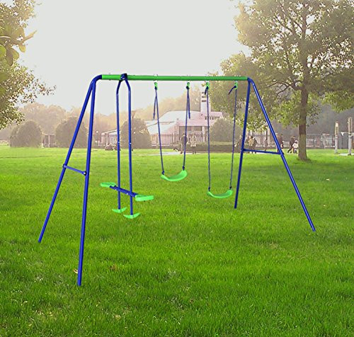 Seesaw Set - BestValue Go Metal A-Frame Two Seat Swing Set with One Seesaw