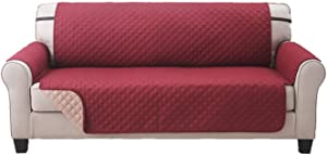 Elaine Karen Premium Reversible Sofa Couch Slipcover Furniture Protector, Quilted, Anti-Slip 2 Inch Strap, Machine Washable, Slip Cover Throw for Pets, Dogs, Cats, Kids,- Burgundy