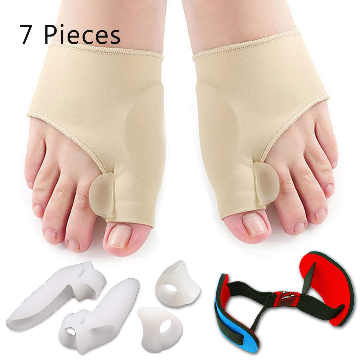 Bunion Corrector & Bunion Relief Protector Sleeves Kit - Treat Pain in Hallux Valgus, Big Toe Joint, Hammer Toe, Toe Separators Spacers Straighteners Splint Aid Surgery Treatment by Flyen