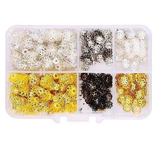 A Box(720pcs/box) with silver plated and gold plated Filigree Flower Cup Shape Bead Caps 7mm and Open Petal Flower Bead Caps 7mm for Jewelry Making Findings Bead chain
