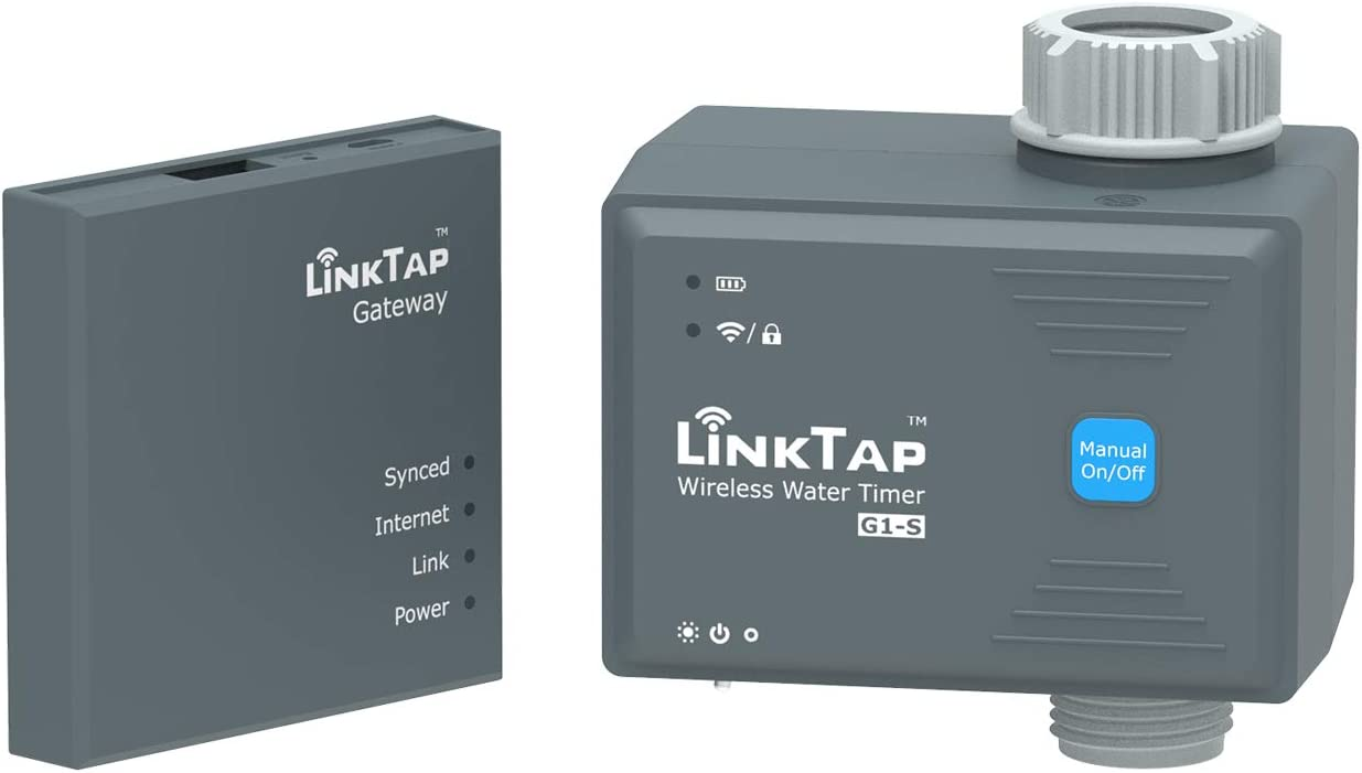 LinkTap G1S Wireless Water Timer & Gateway - Cloud Controlled Smart Hose Timer & App, Remote Irrigation for Garden, Weather Awareness, Manual Control & Digital Lockout, 2 Year Battery Life, IP66