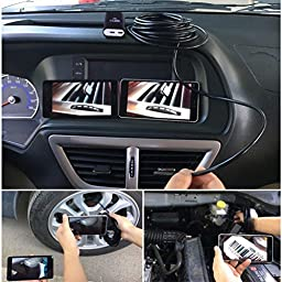 WiFi Borescope 8mm IOS Video Inspection Camera Waterproof Endoscope 2M Handheld Snake Camera with 6pcs LED for iPhone 7/7Plus/6s/6/5s/5,iPads/Android Phones,Tablets