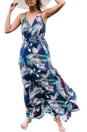 babb81ff4444 Foluton Damen Sommer Strandkleid Boho Blumenmuster V-Ausschnitt Ärmellos  Cocktailkleid Party träger lang Sommerkleid Maxikleid