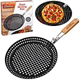 Pizza Grill Pan (12') w Removable Handle- Perforated Non-stick Grilling Dish w Air Holes for Extra Crispy Crust- Extra High Walls Keep Food Inside
