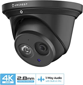 Amcrest UltraHD 4K POE Camera, 8MP Outdoor Security Turret PoE IP Camera, 3840x2160, 164ft NightVision, 2.8mm Lens, IP67 Weatherproof, MicroSD Recording (128GB), Black (IP8M-T2499EB-28MM)