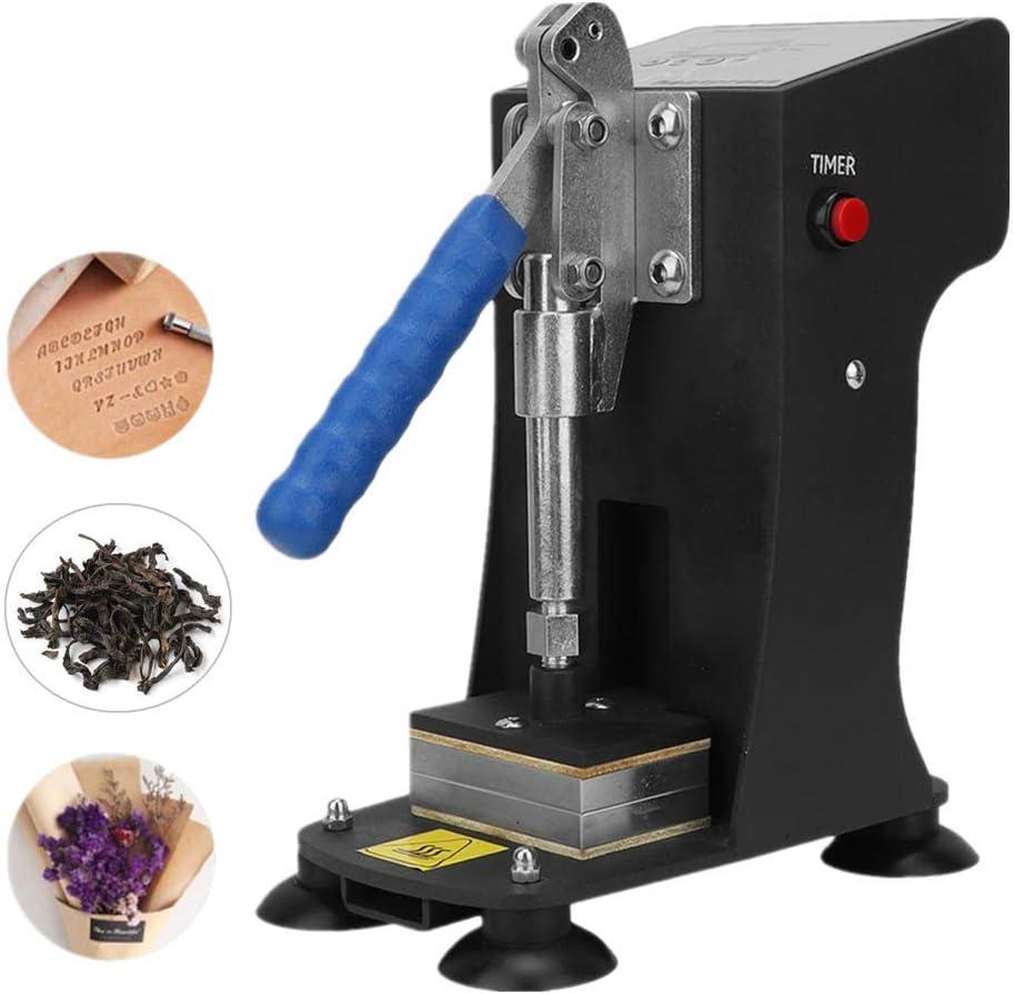HUKOER Máquina de prensado en caliente Prensador en caliente de fuerza máxima de 500 kg, placas calefactoras dobles de 2x3 pulgadas para extracción, cuero de PU, vinilo, plantas de flores