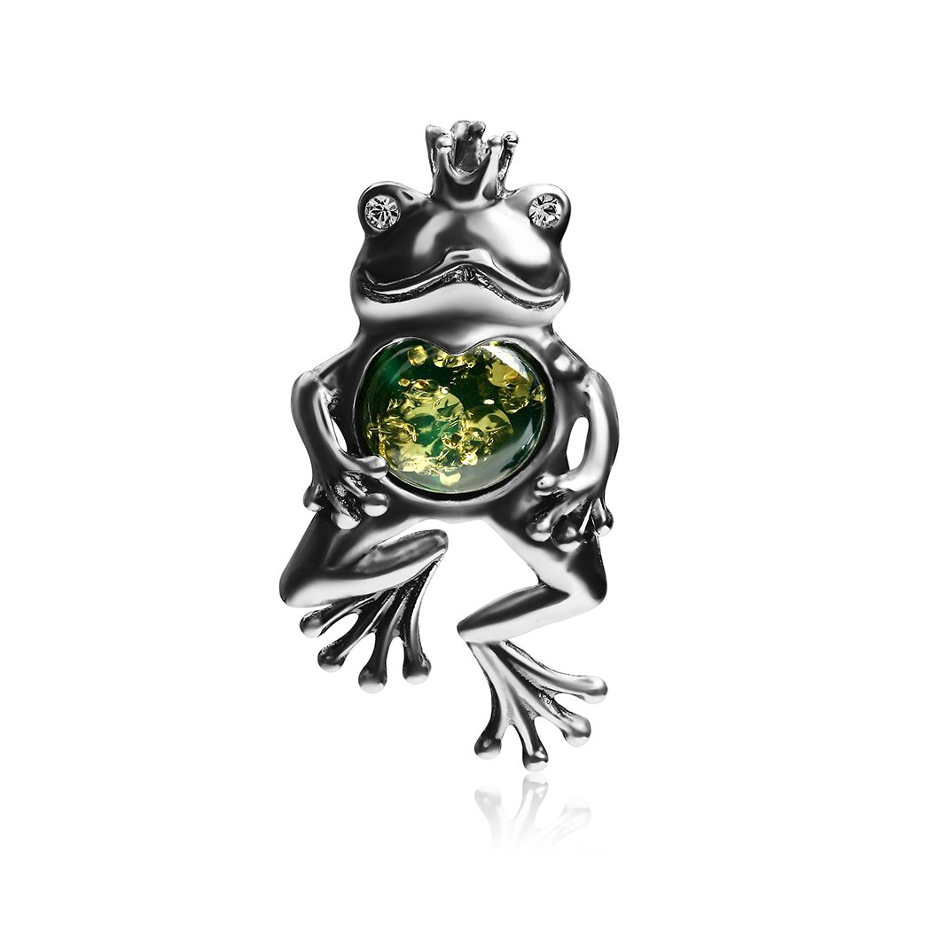 Ian and Valeri Co Green Amber Sterling Silver Frog Princess Pendant