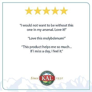 Amazon.com: Molibdeno quelato de 250 mcg Kal 100 pestañas ...