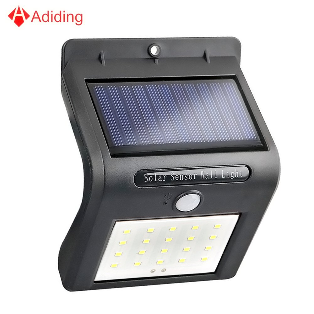 Adiding Solar Motion Sensor Light, Led Wall Light Security light for Garden Patio Deck Step Pathway Garage Driveway, IP65 Rated - Single Pack – Black