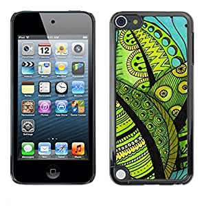 PC/Aluminum Funda Carcasa protectora para Apple iPod Touch 5 Contrast Drawing Leaves Teal Green / JUSTGO PHONE PROTECTOR
