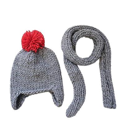 Amazon.com  Wondere Toddler Girl Boy Winter Warm Soft Crochet Cap+ ... bff1c7e48a6