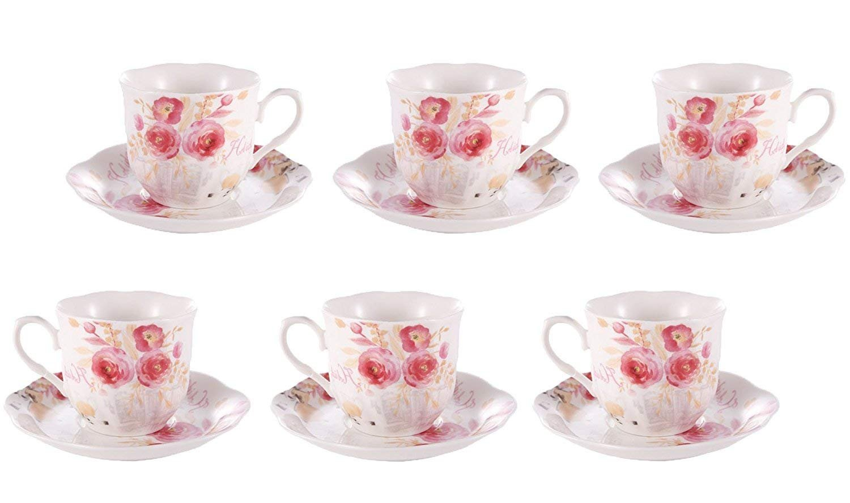 Juegos 6 Tazas Café Porcelana Inglesa - 80ML/2,8OZ Vintage de Flores Floreciente Rosadas Tazas y Platos Café Set para Espresso, Cortado, Té: Amazon.es: ...