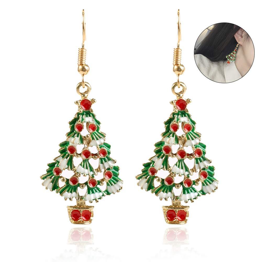 Hemore Christmas Jewelry Christmas Tree Earrings 1 Pairs