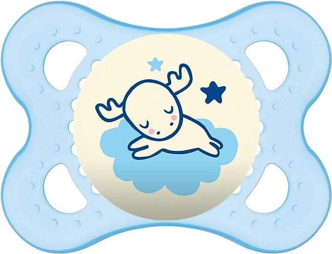 MAM - Chupete de noche de 0 a 6 meses - Silicona ultrasuave - Pack de 2 chupetes y caja de esterilización - Color aleatorio: Amazon.es: Bebé