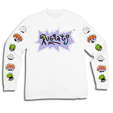 450ebc67f88 Nickelodeon Mens Long Sleeve Shirt - #TBT Mens 1990's Clothing - Rugrats,  Hey Arnold