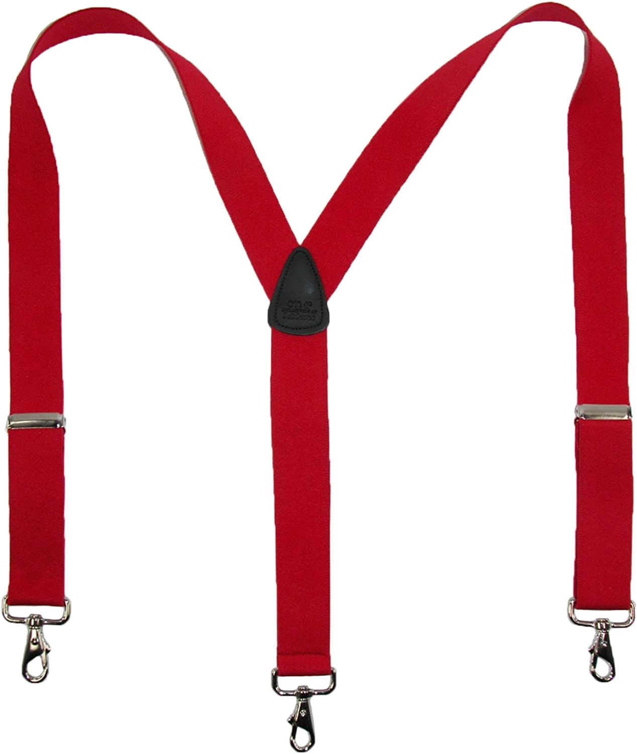 CTM Mens Elastic Solid Color Suspender with Metal Swivel Hook Clip End White