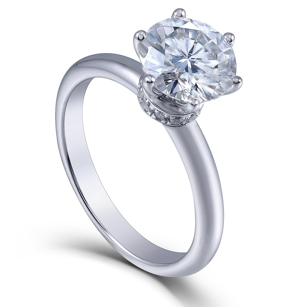 2ct Center 8mm H Color 2.2mm Width Moissanite Engagement Ring Solitare with accents 925 Sterling Silver (8)