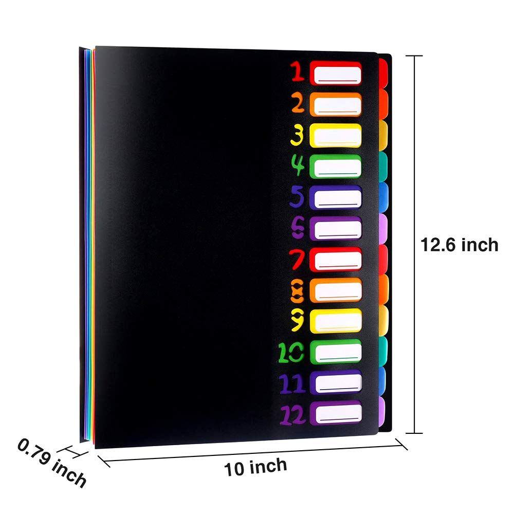File Racks Expanding File Organiser with Lid A4 Plastic Document Wallet Folder for Home or Office Documents Folders with 12 Pages Colours Popper Wallet