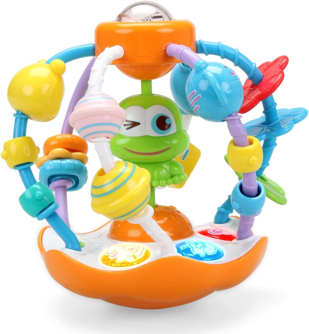 INTMEDIC Oball Grasping Multiple Sensory Activity Rattle Ball Toy for Baby with Light & Music to Practice Fine Motor Skill Finger Flexibility as Gifts for 6 Months & Up Baby Infant Newborn