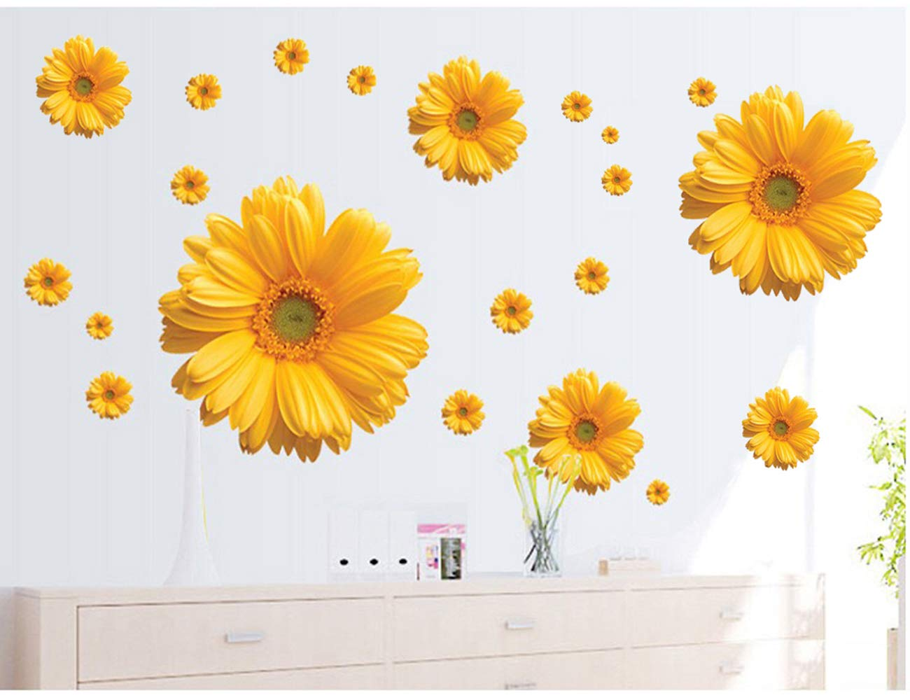 2Sets 3D Daisy Flowers Wall Stickers Sunflower Wall Decals Yellow Red Pink Daisy Sunflower Wall Stickers Peel and Stick Removable Stickers for Nursery Kids Room Living Room (Yellow(2pcs))