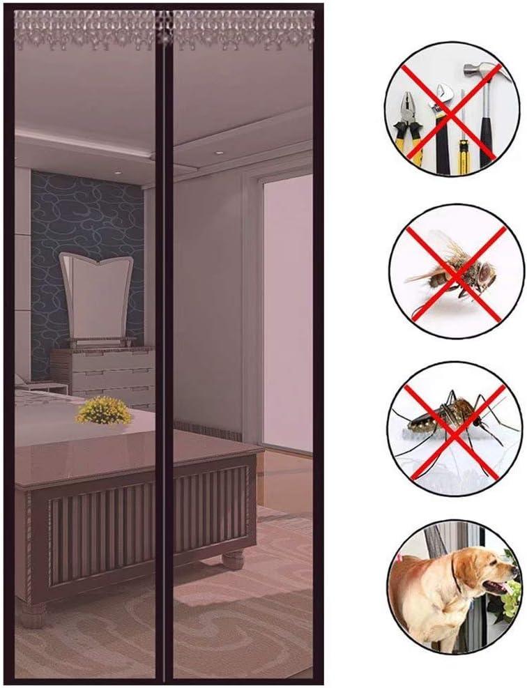 Cortina de puerta negra, mosquitera magnética para puerta, mosquitera, protección magnética, plegable, cierre automático, para puertas y patios, Marrón: Amazon.es: Bricolaje y herramientas