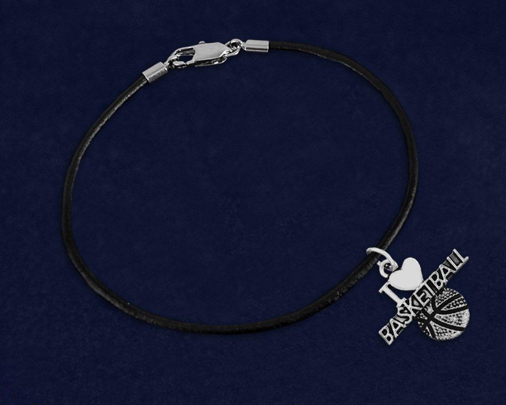 Wholesale Pack - 12 Bracelets Fundraising For A Cause I Love Basketball Black Cord Bracelets
