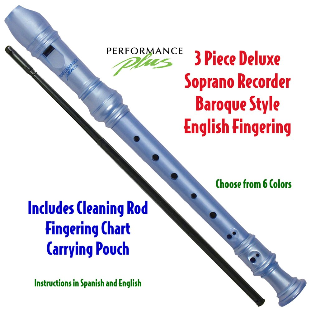 Performance Plus RECB-BP 3-Piece Deluxe Soprano Recorder, Blue Pearl