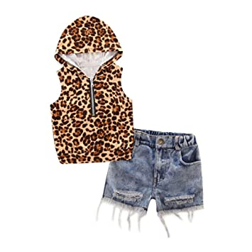 0497d4769ce4 2 - 7 Years Old Odeer Toddler Kids Baby Girl Hooded Leopard Print T Shirt  Top