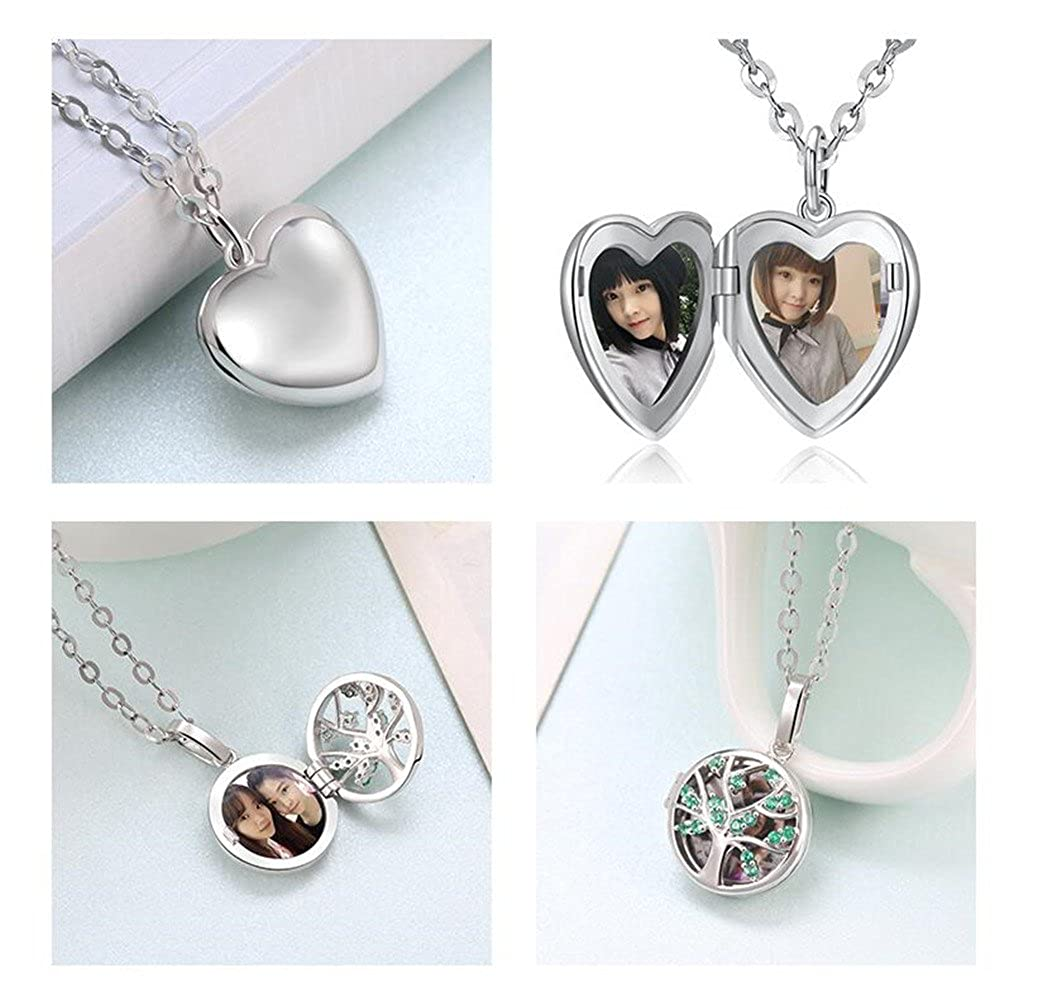 FUJIN Personalized 925 Sterling Silver Photograph Pendant Necklace Custom Any Photo and Inscription
