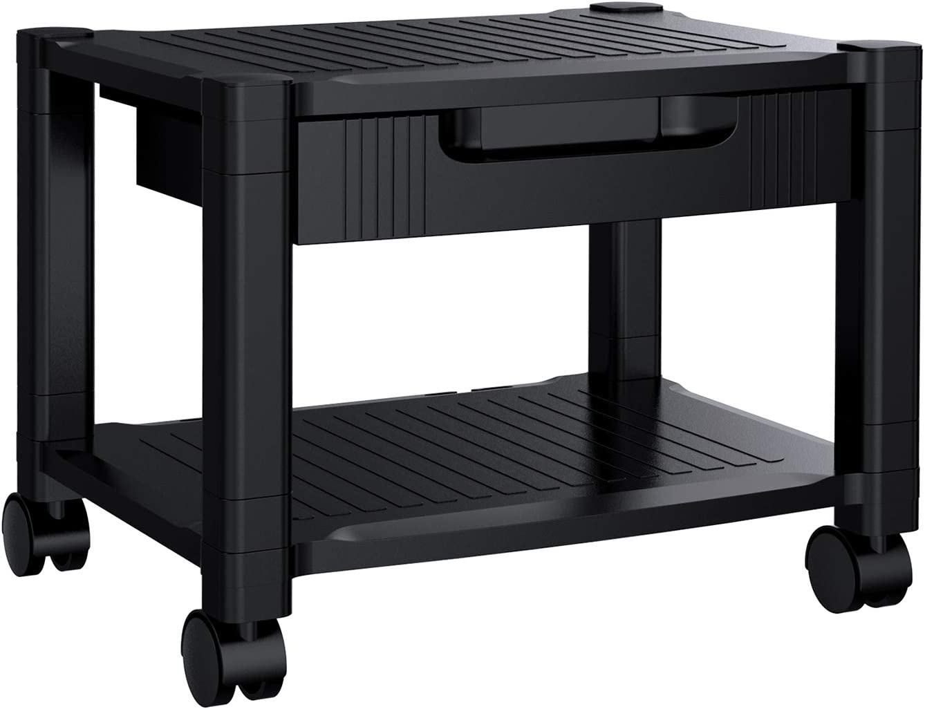 Printer Stand - Under Desk Printer Stand with Cable Management & Storage Drawers, Height Adjustable Printer Desk with 4 Wheels & Lock Mechanism for Mini 3D Printer by HUANUO : Office Products