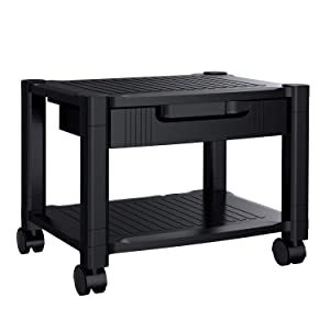 Printer Stand - Under Desk Printer Stand with Cable Management & Storage Drawers for Office Space Organizer, Height Adjustable Printer Desk with 4 Wheels & Lock Mechanism by HUANUO