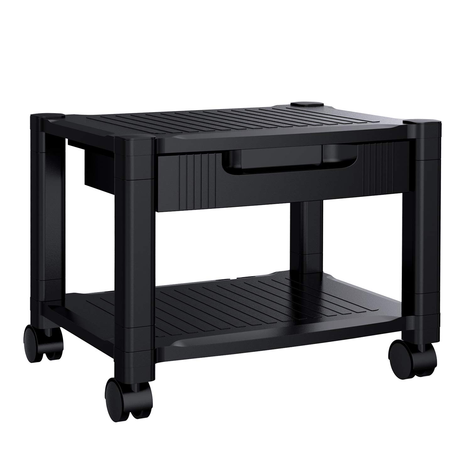 Printer Stand - Under Desk Printer Stand with Cable Management & Storage Drawers for Office Space Organizer, Height Adjustable Printer Desk with 4 Wheels & Lock Mechanism (1 Pack, Black)