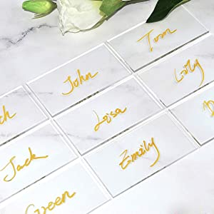 ATOMZING Clear Acrylic Place Cards for Wedding,Blank Guest Table Seating Cards, 3mm Extra Thick Acrylic Escort Plates,Guest Name, Food Signs, Banquet Events