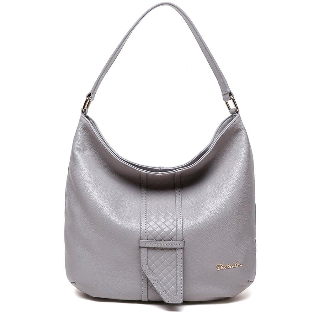 BOSTANTEN Women Leather Hobo Handbags Tote Purse Top-handle Shoulder Bag on Sale (gray)