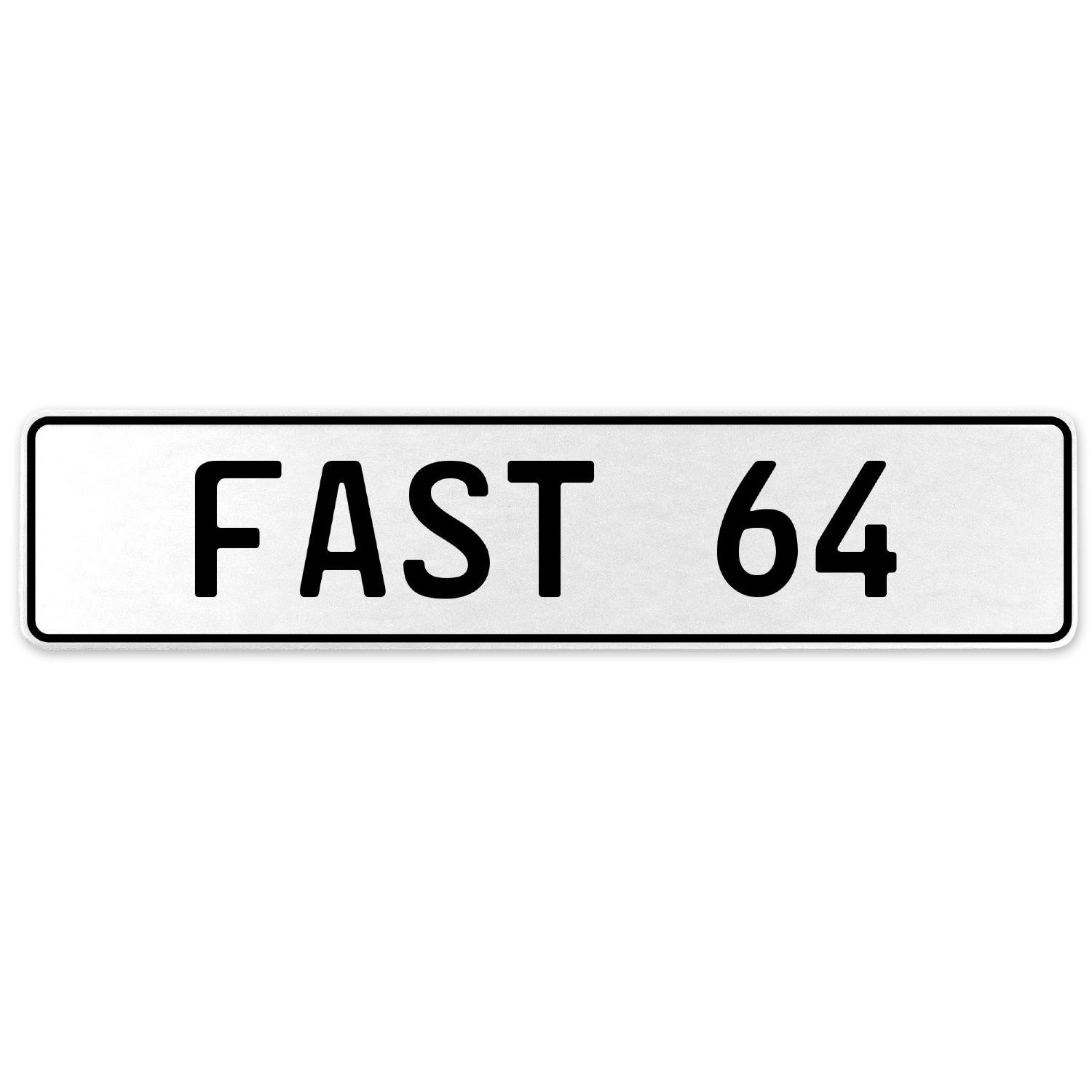 Vintage Parts 557334 Fast 64 White Stamped Aluminum European License Plate