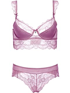 71efffa1a8 Women Push Up Underwire Bra and Panty Set Soft Embroidery Lace Lingerie Set