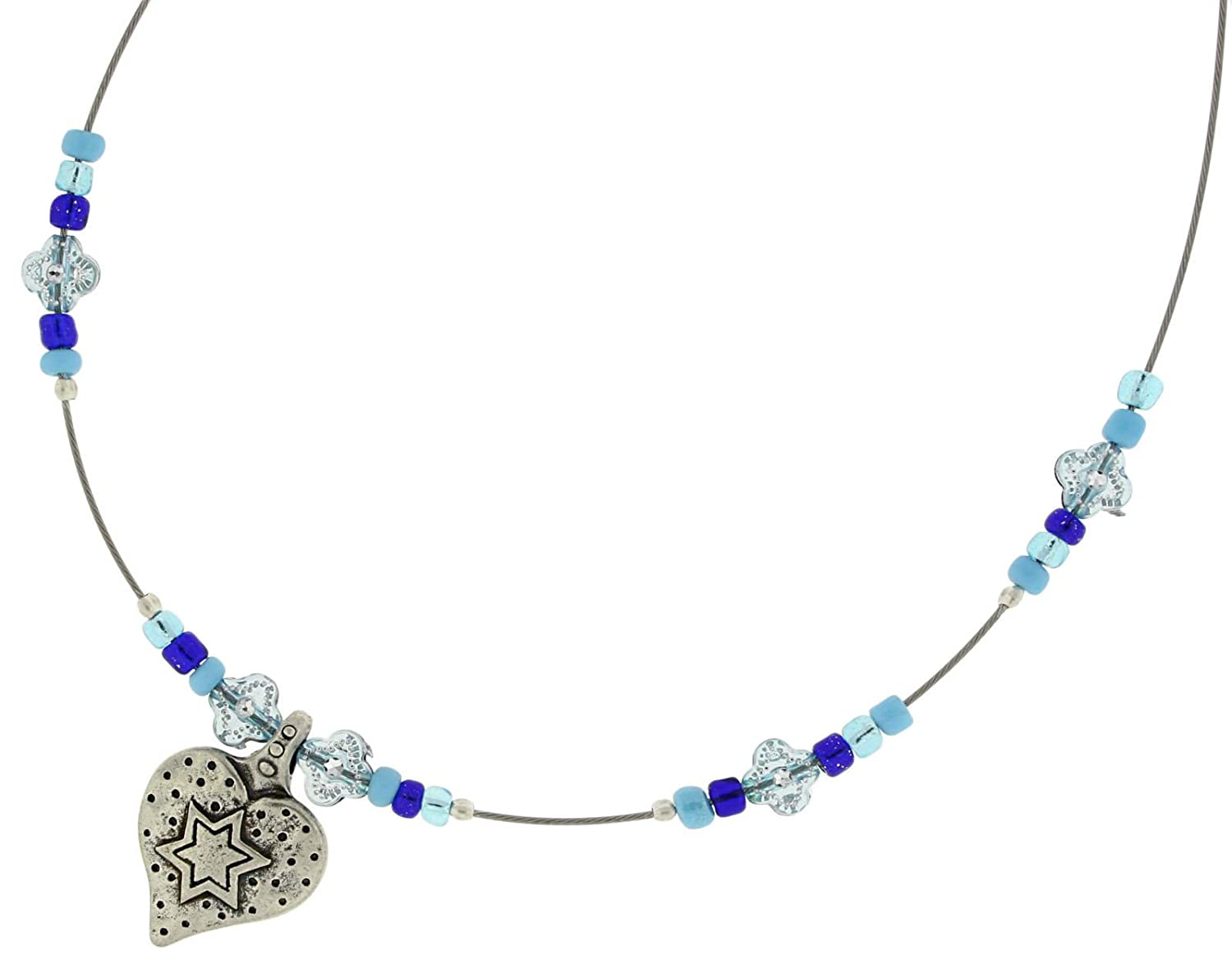 Hand Made By DANON Pewter Star Of David On A Heart Pedant /& Beads 15.5 Long Necklace Jewelry
