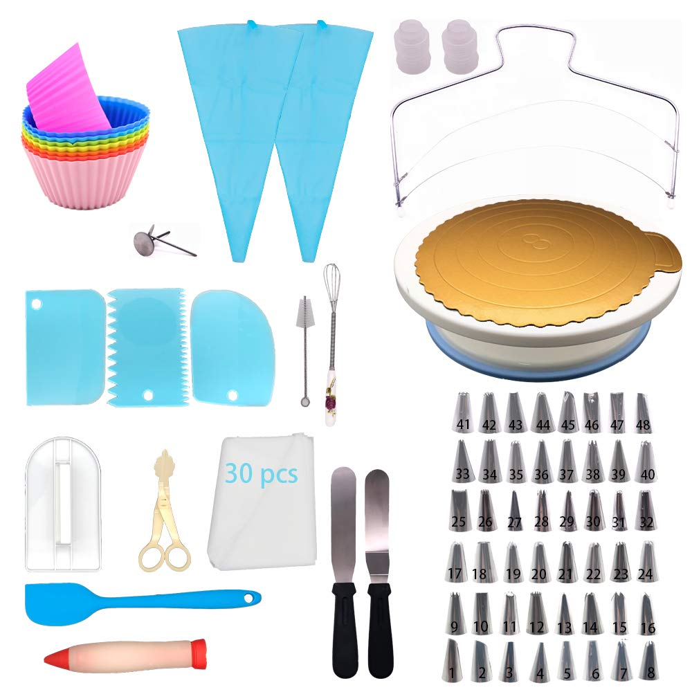 Cake Decorating Kit for Beginners 105 Pcs All in One Cake Decorating Tools with Cake Turntable, 48 Numbered Cake Piping Tips, 30 Disposable Piping Bags, 8 Silicone Cupcake Molds, 2 Icing Spatulas