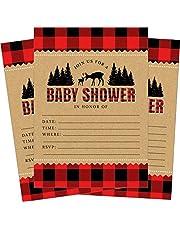 Lumberjack Buffalo Plaid Woodland Deer Baby Shower Invitations - 24 Count