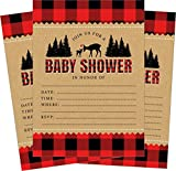 Baby : Woodland Rustic Lumberjack Flannel Deer 5x7 Baby Shower Invites (24 ct) with White Envelopes