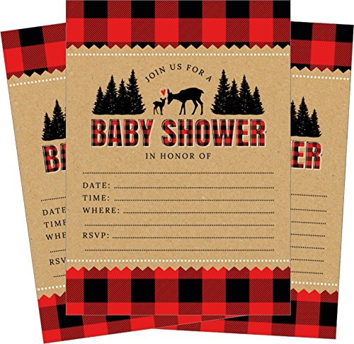 Lumberjack Buffalo Plaid Woodland Deer Baby Shower Invitations - 24 Count