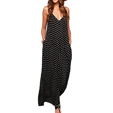 3b470f255437 Womens Dresses Casual Sleeveless Polka Dots Loose Beach Sundress Party  Swing Long Maxi Summer Dress for Women Plus Size at Amazon Women's Clothing  store: