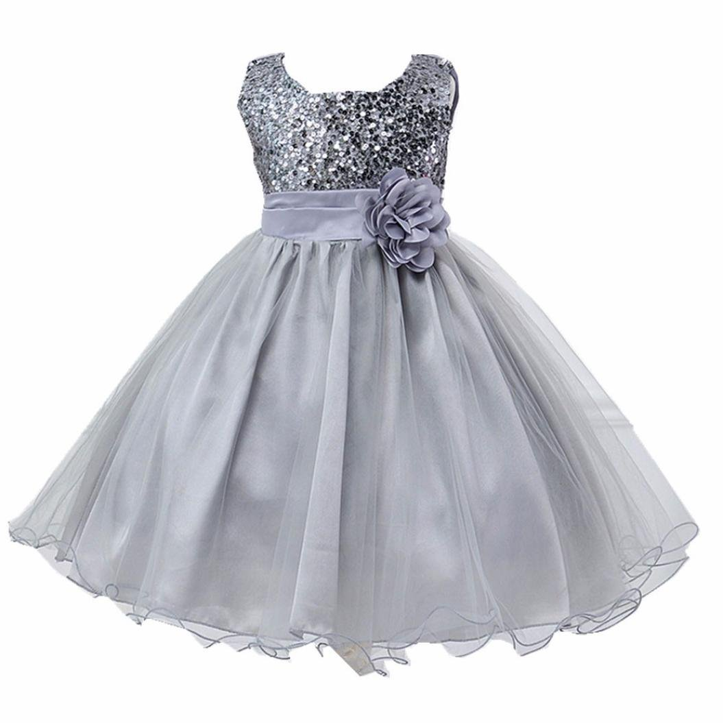 7 Color Baby Kids Girl Gown Baptism Pageant Sequins Dress Flower Wedding Dresses (Silver, 3T(3-4 Years)) by iumei