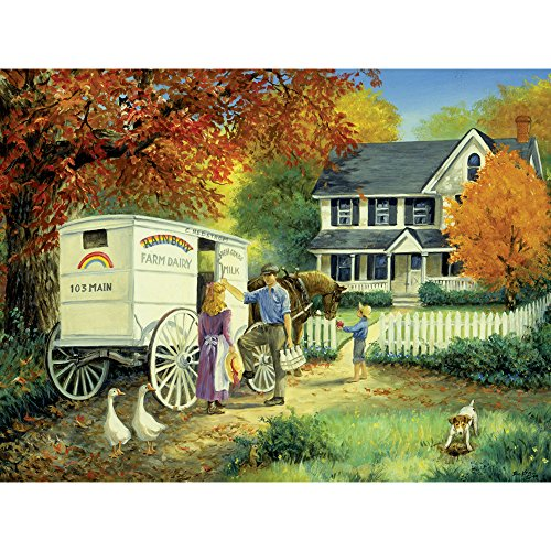 Bits and Pieces - 300 Large Piece Jigsaw Puzzle for Adults - Rainbow Dairy Farm - 300 pc Fall Scene Jigsaw by Artist Linda Picken