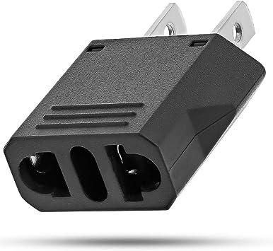 Adaptador Europeo a los EEUU, Fosmon Tipo C UE a EE.UU. / Canadá Adaptador de Viaje, Convertidor de Potencia Universal de 2 Clavijas (Negro): Amazon.es: Electrónica