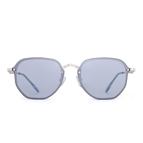 JIM HALO Occhiali da Sole Specchio Senza Montatura Piccolo Occhiali Metallo Polifonico Chiaro Uomo Donna