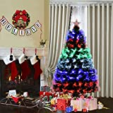Goplus Pre-Lit Fiber Optic Christmas Tree Artificial Fireworks Spruce Tree w/ Multicolor LED Lights, Top Star & Solid Metal Stand (5 Ft)