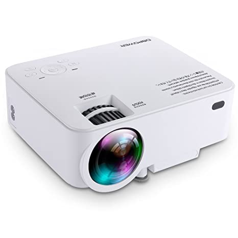 T20 1500 Lumens LCD Mini Projector, Multimedia Home Theater Video Projector Support 1080P HDMI USB SD Card VGA AV for Home Cinema TV Laptop Game ...