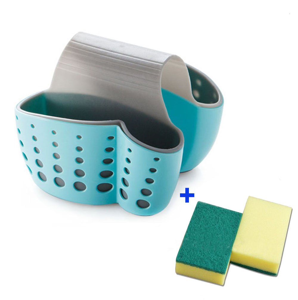 Sponge Holder Sink Caddy Soap Holder for Kitchen Organization Plastic Storage Baskets (BLUE) Tfwadmx COMIN18JU065814